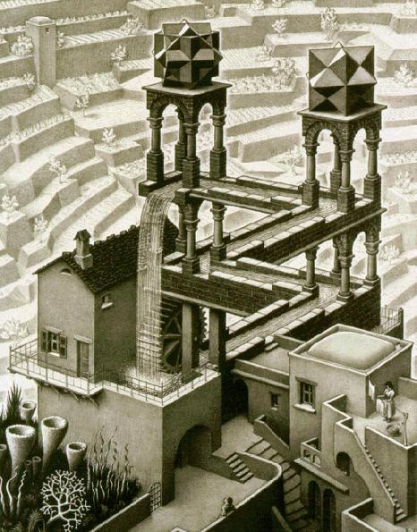 M. C. Escher, Waterfall, 1961 (fonte: Wikipedia)